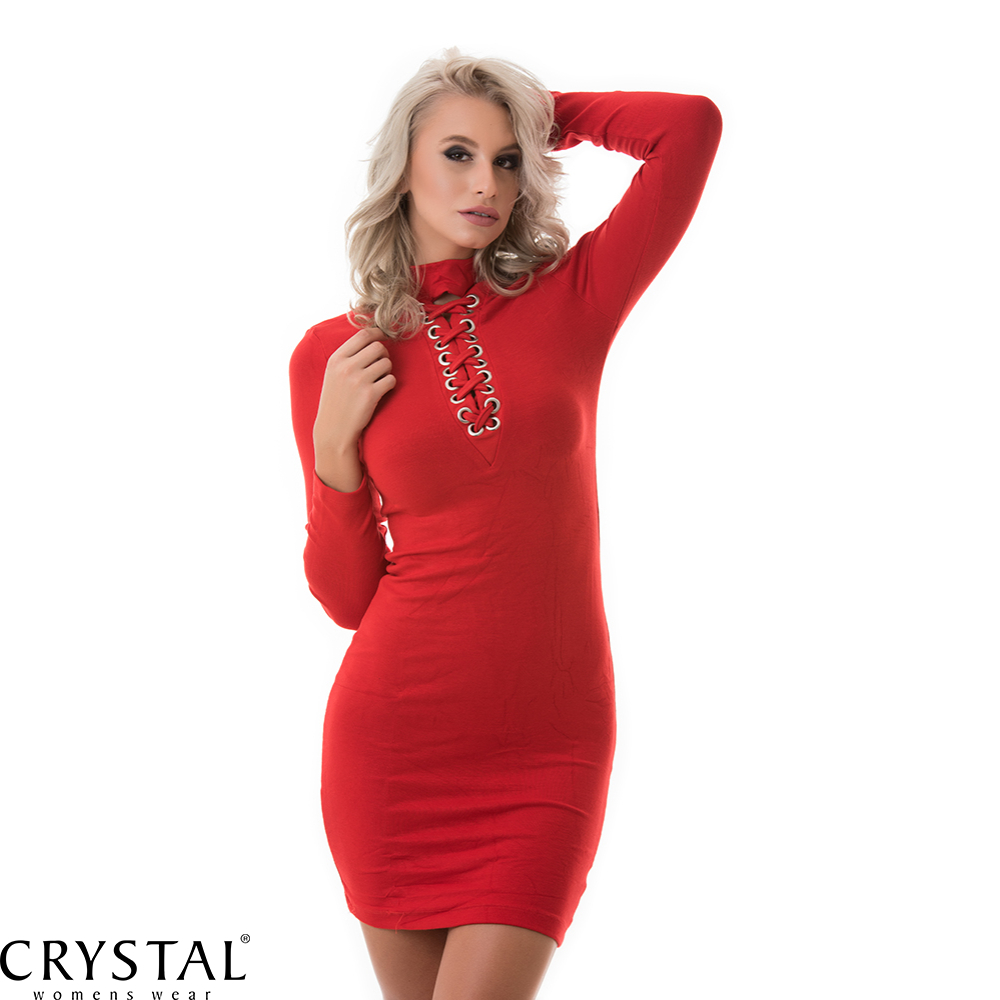 eeeaf07611 Hosszú ujjú fűzős ruha, piros