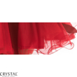 Tüllös szatén szalagos koktélruha, piros M