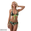 Mania push-up háromszög, leveles bikini,C,zöld-fekete M