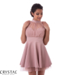 Nyakban záródó alkalmi ruha fáradt rózsaszín