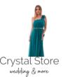 Muszlin maxiruha szaténrózsával, gyönggyel, smaragdzöld