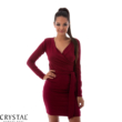 Átlapolt öves ruha, burgundy