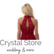 Nyakban záródó csipke ruha, vörös