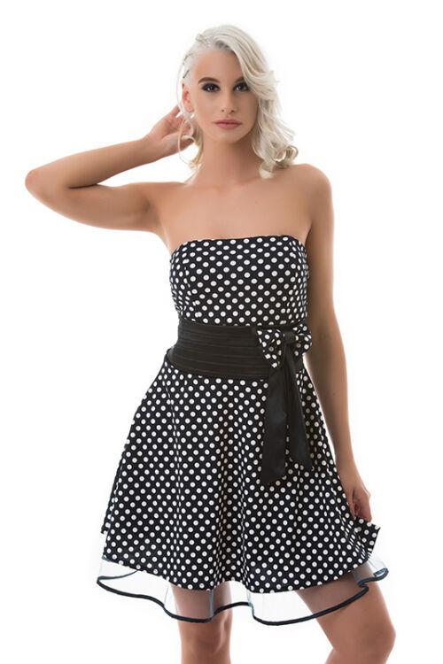 A-vonalú pöttyös ruha, sötétkék-fehér
