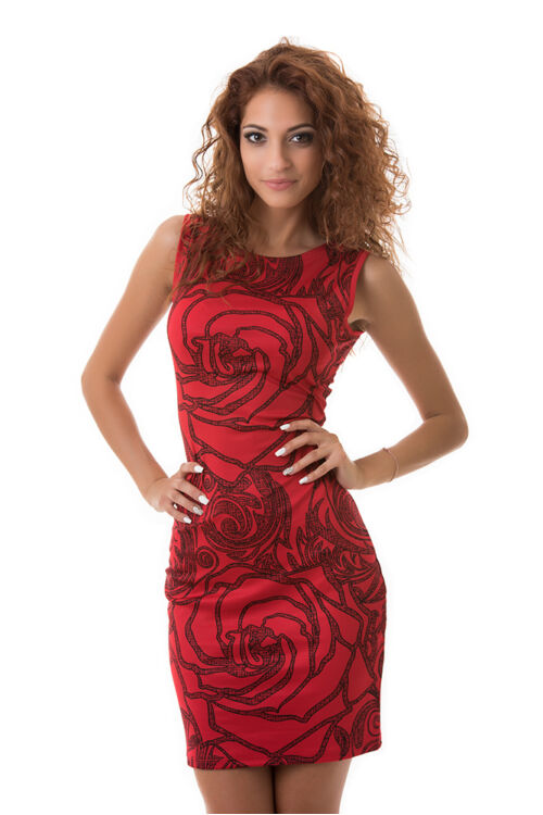 Rózsa mintás testre simuló ruha, piros