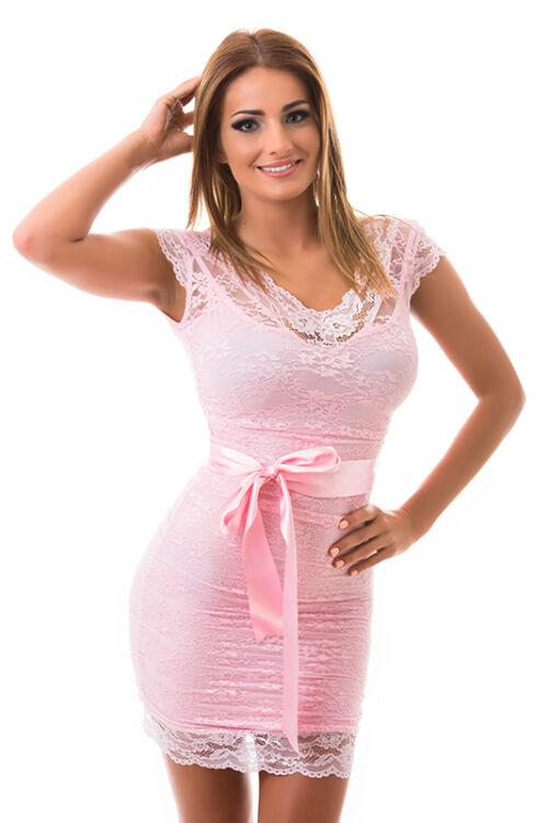 Csipkerátétes koktélruha, rózsaszín