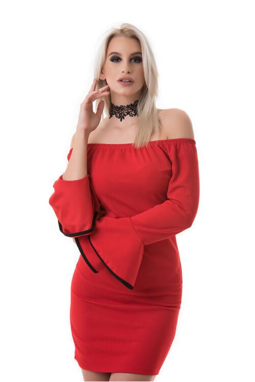 Tölcsérujjú vállra húzható ruha, piros