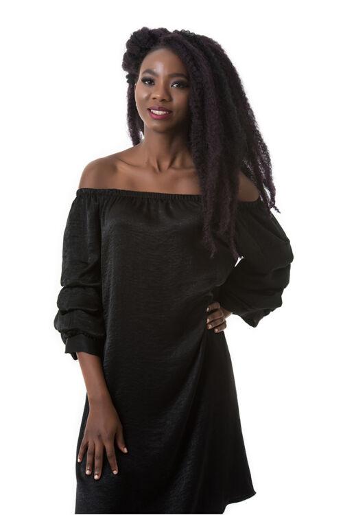 Szatén tunika-ruha, fekete