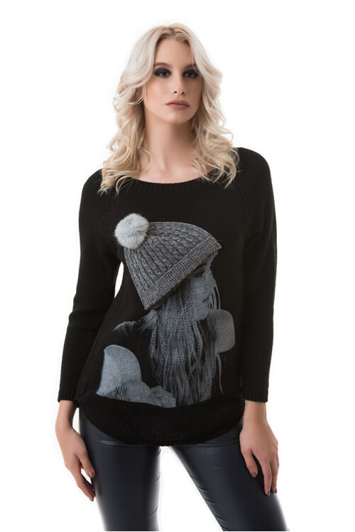 Kötött pulóver, fekete