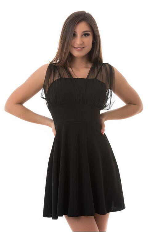 A-vonalú alkalmi ruha neccrátétes felső résszel, fekete