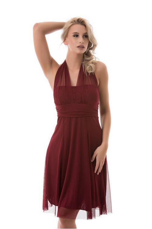 Neccrátétes nyakbakötős alkalmi ruha, burgundy
