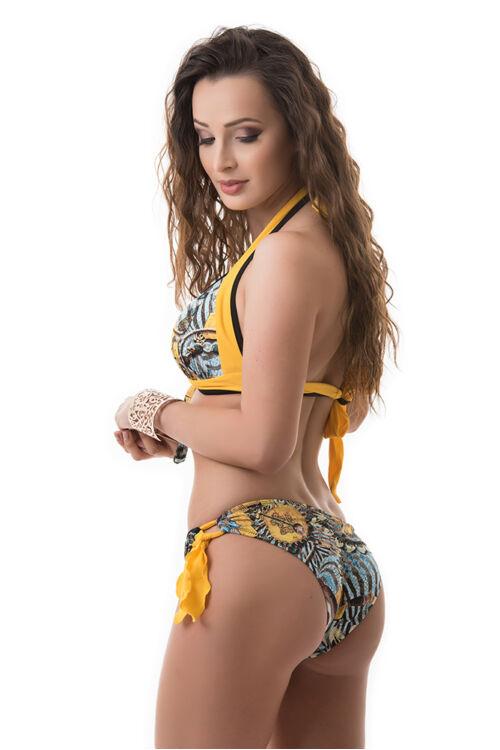 Carib kiszélesített push-up háromszög bikini, sárga egzotikus mintás