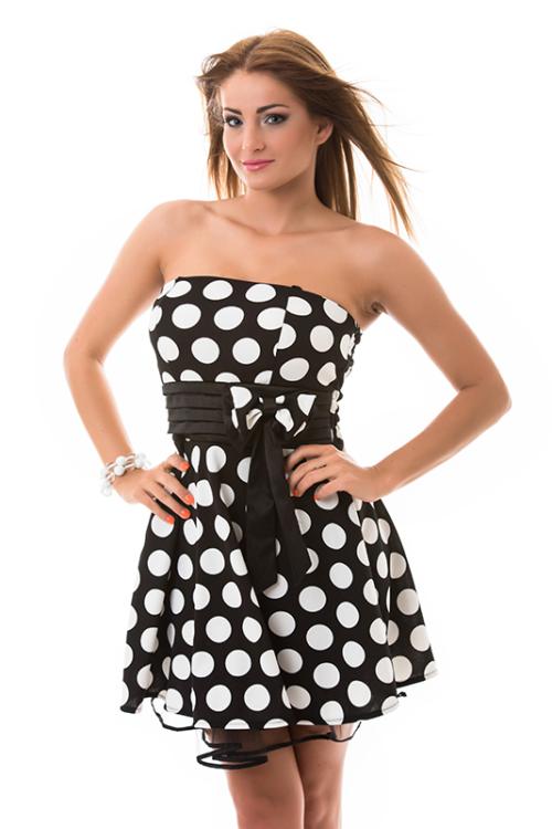 A-vonalú nagy pöttyös ruha, sötétkék-fehér