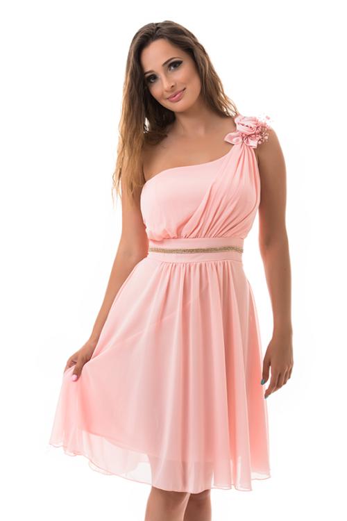 Muszlin koktélruha, szaténrózsával, gyönggyel, rózsaszín