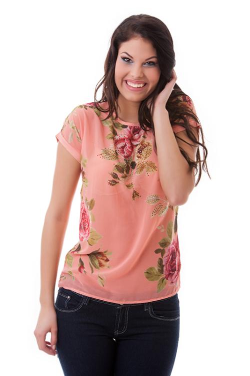 Virágos póló, barackszín