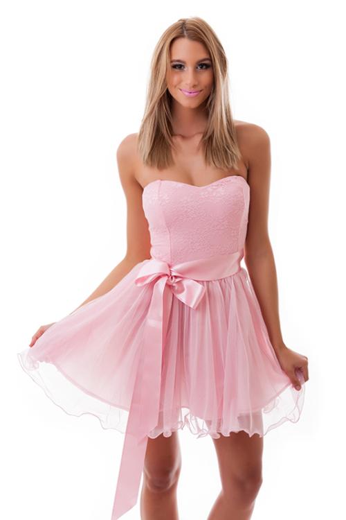 Tüllös szatén szalagos koktélruha, rózsaszín