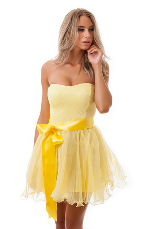 Tüllös szatén szalagos koktélruha, sárga