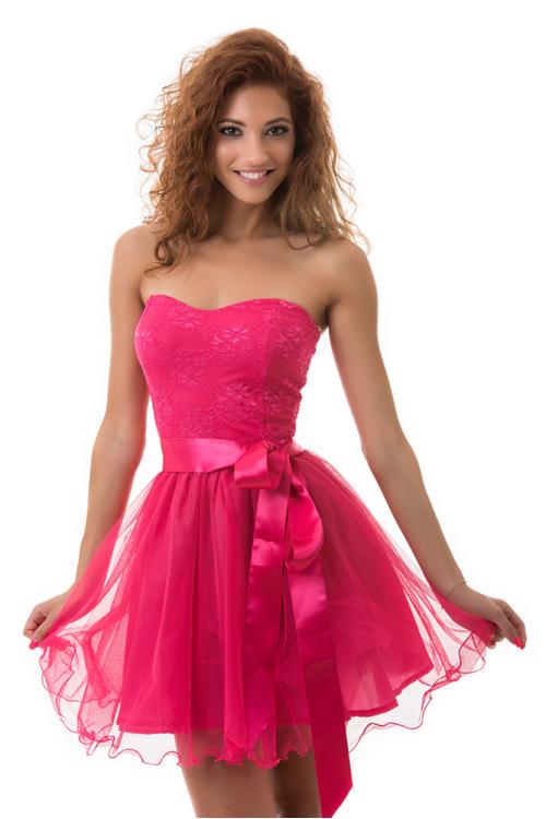 Tüllös szatén szalagos koktélruha, pink