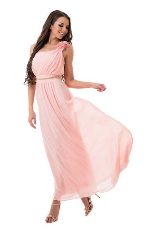 Muszlin maxiruha szaténrózsával, gyönggyel, rózsaszín