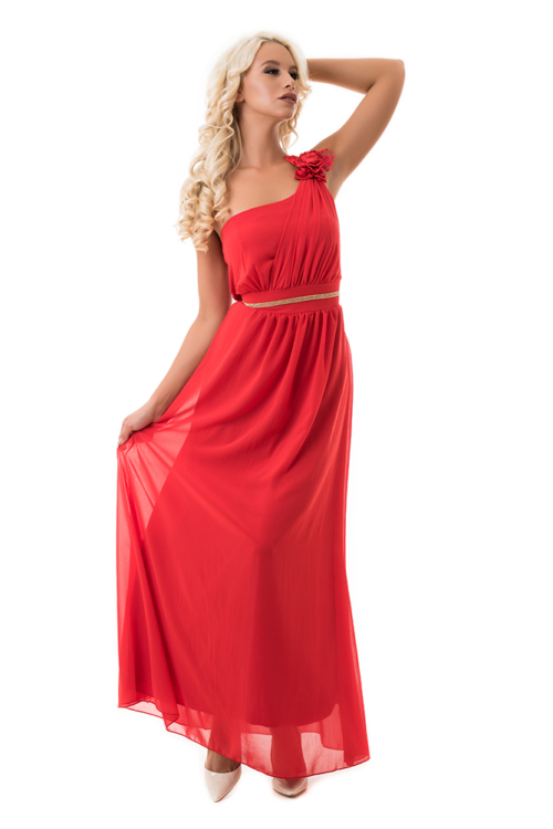 Muszlin maxiruha szaténrózsával, gyönggyel, piros