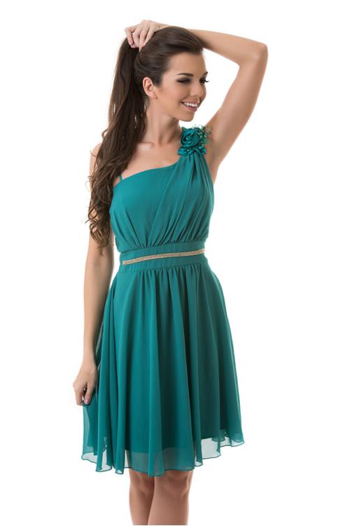 Muszlin koktélruha, szaténrózsával, gyönggyel, smaragdzöld