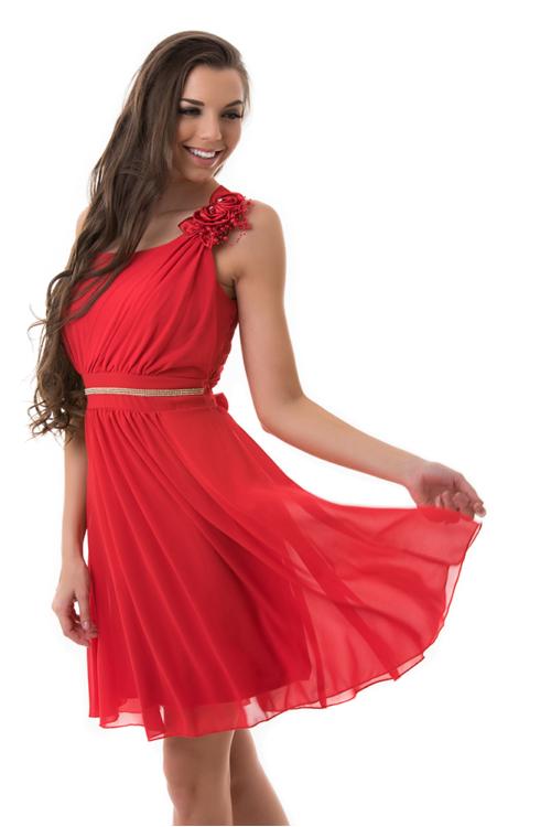 Muszlin koktélruha, szaténrózsával, gyönggyel, piros