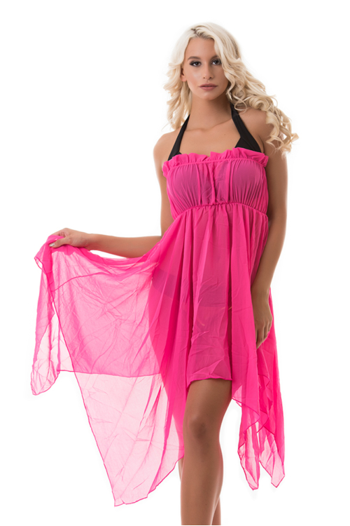 Pánt nélküli strandruha, pink