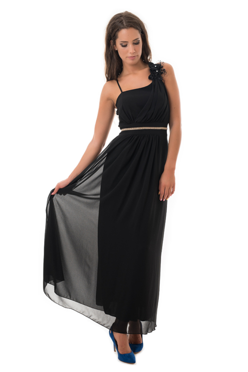 Muszlin maxiruha szaténrózsával, gyönggyel, fekete