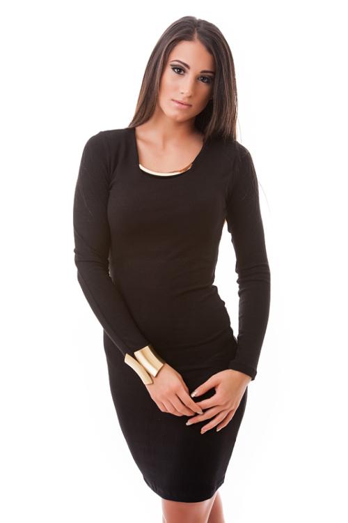 Fémbetétes pamutruha, fekete plus size