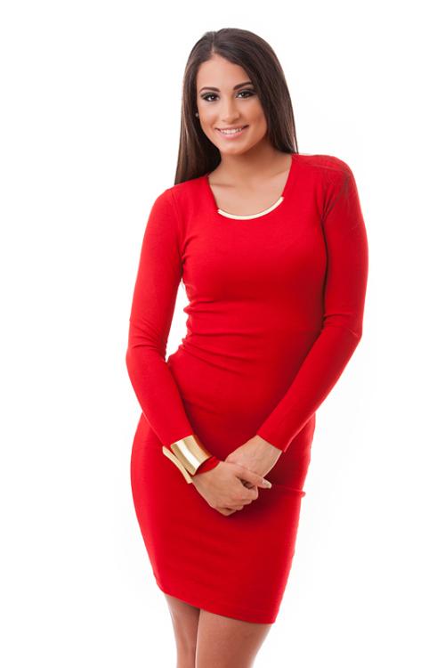 Fémbetétes pamutruha, piros plus size