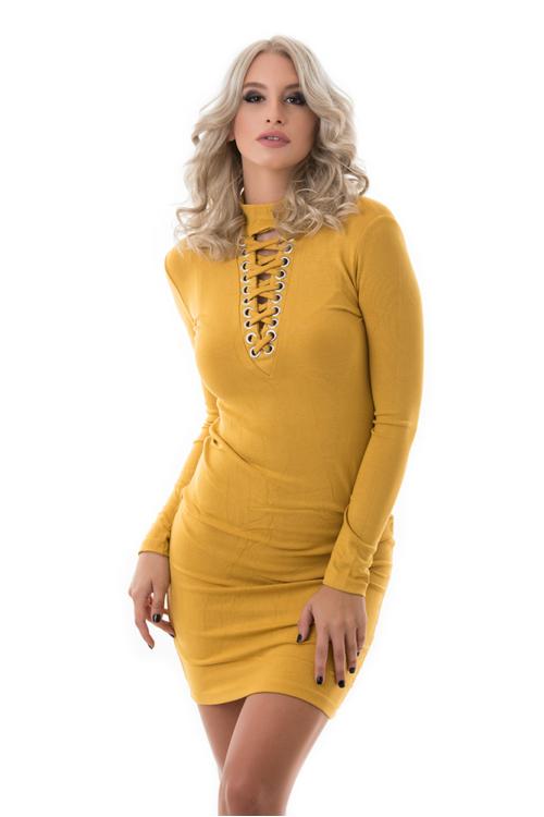 Hosszú ujjú fűzős ruha, mustársárga