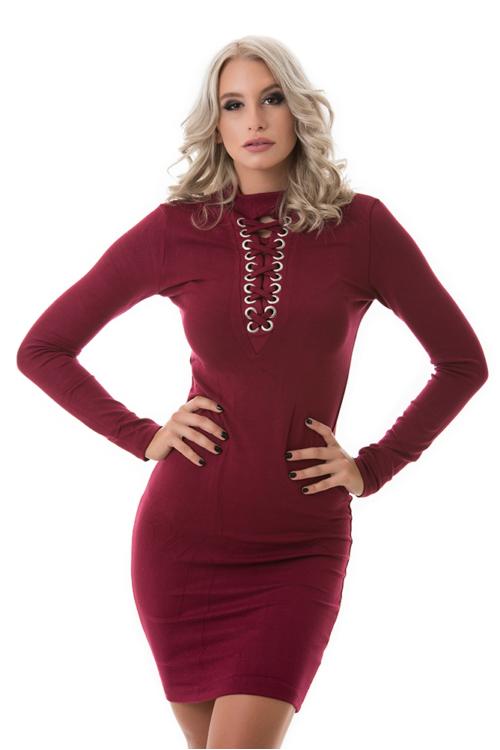 Hosszú ujjú fűzős ruha, burgundy
