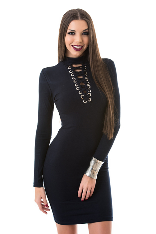 Hosszú ujjú fűzős ruha, sötétkék