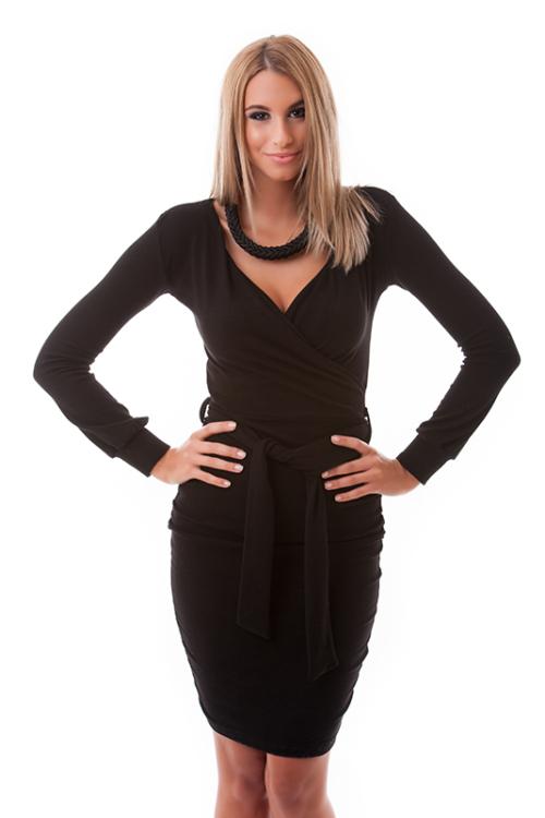Átlapolt öves ruha, fekete