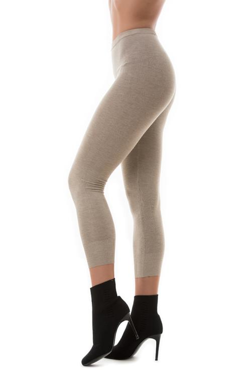 Kötött 7/8-os leggings, homokszínű
