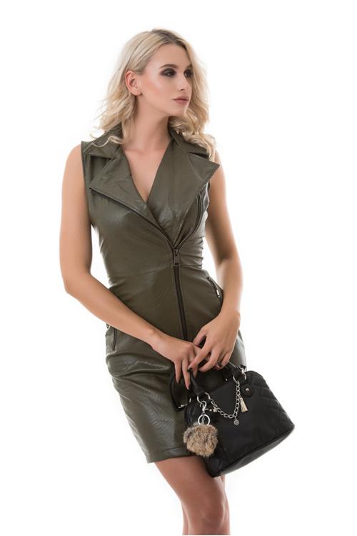 Zipzáras műbőr ruha, khaki