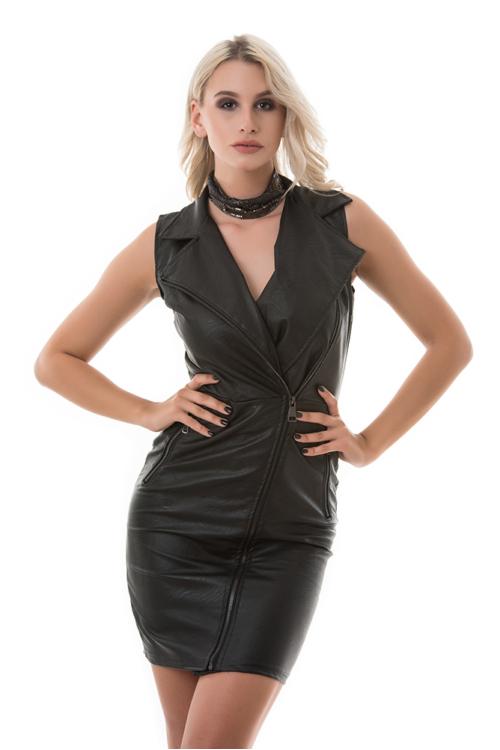 Cipzáras műbőr ruha, fekete