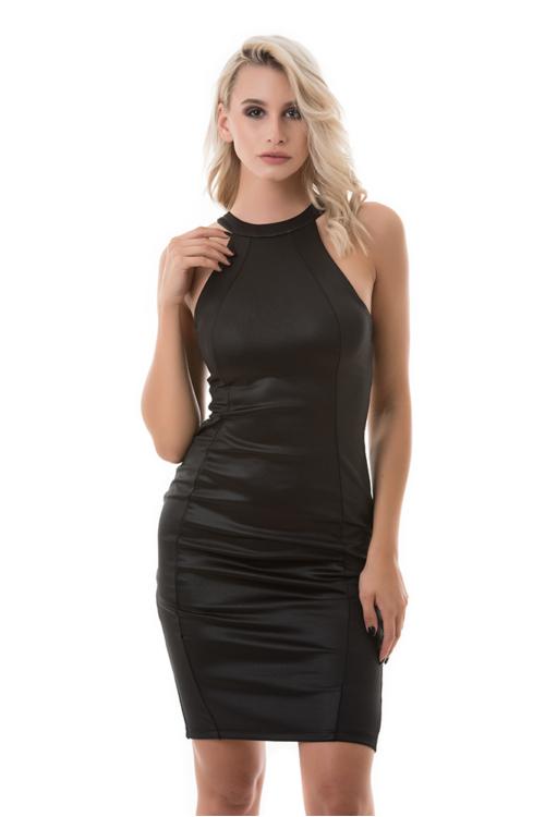Sokpántos hátmegoldású partyruha, fekete