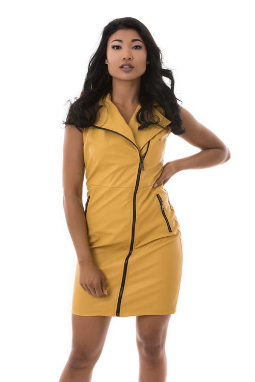 Zipzáras műbőr ruha, mustársárga