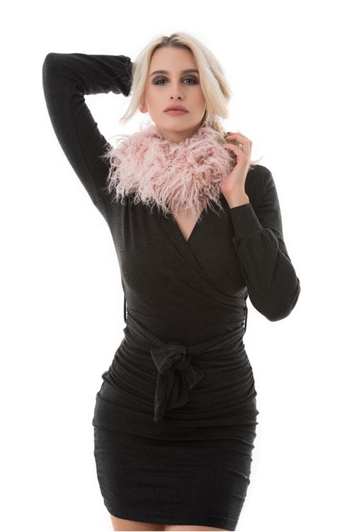 Bebújós szőrme kámzsa, rózsaszín