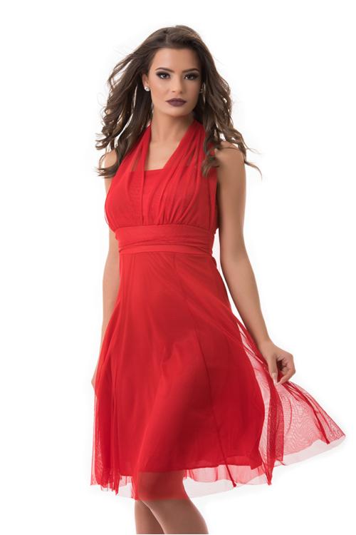 Neccrátétes nyakbakötős alkalmi ruha, piros