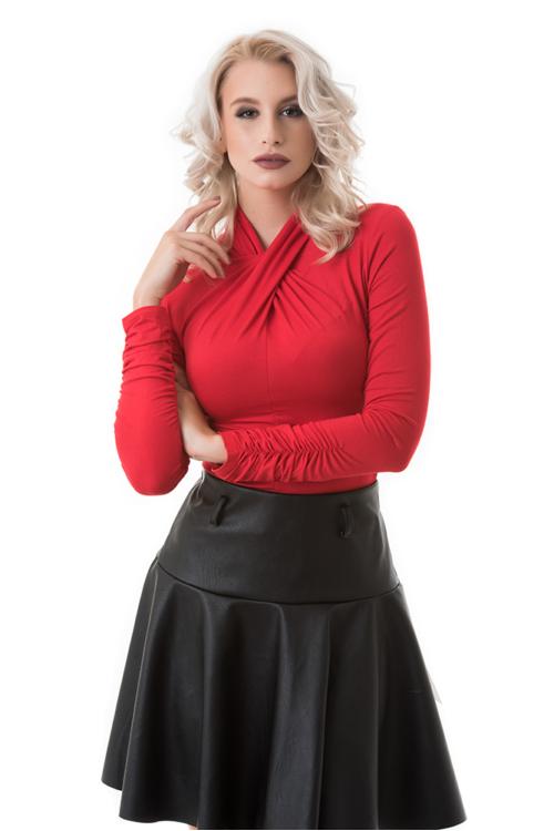 Csavart nyakmegoldású garbó, piros