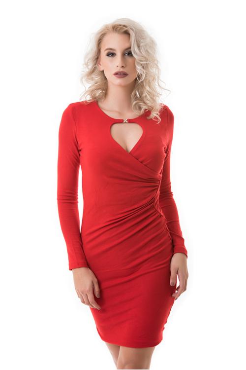Húzott derekú cseppkivágott ruha, piros