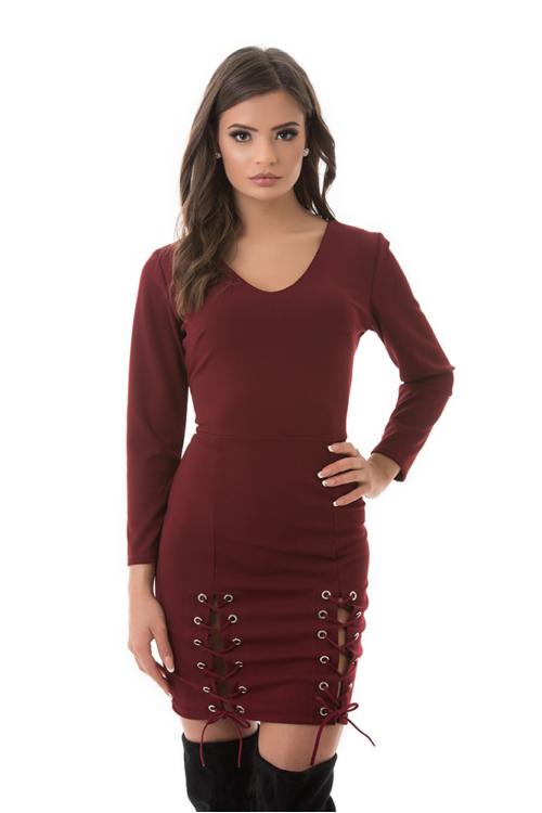 Fűzős alkalmi ruha, burgundy