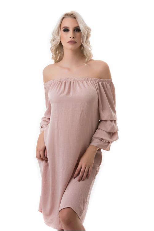 Szatén tunika-ruha, fáradt rózsaszín