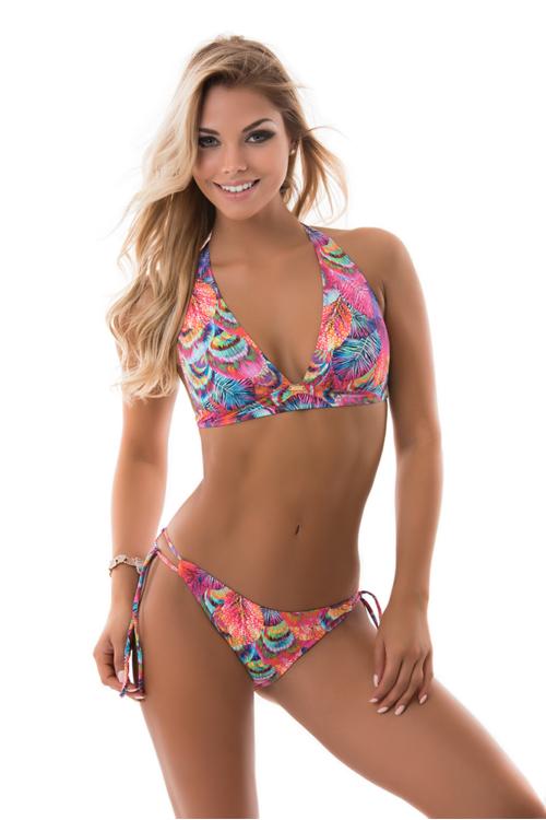 Paloma szivacslapos háromszög bikini, levél mintás 803
