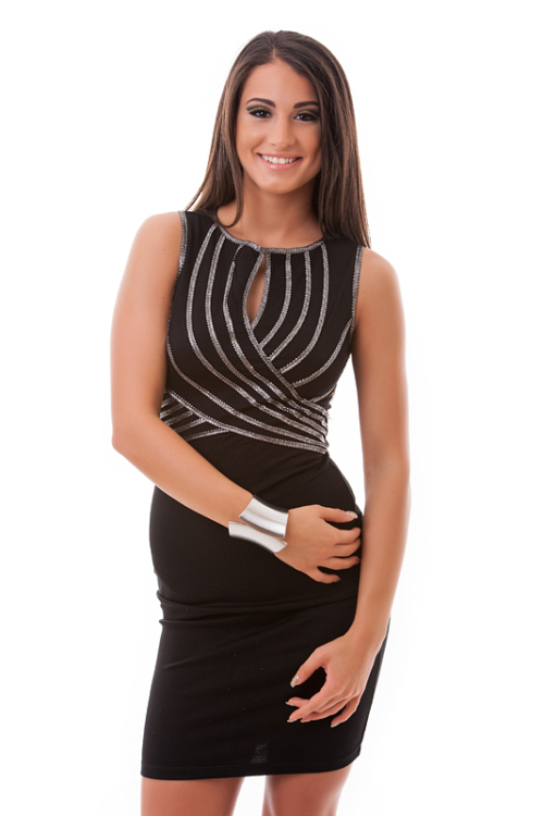 Ujjatlan tekert elejű neccbetétes ruha, fekete-ezüst