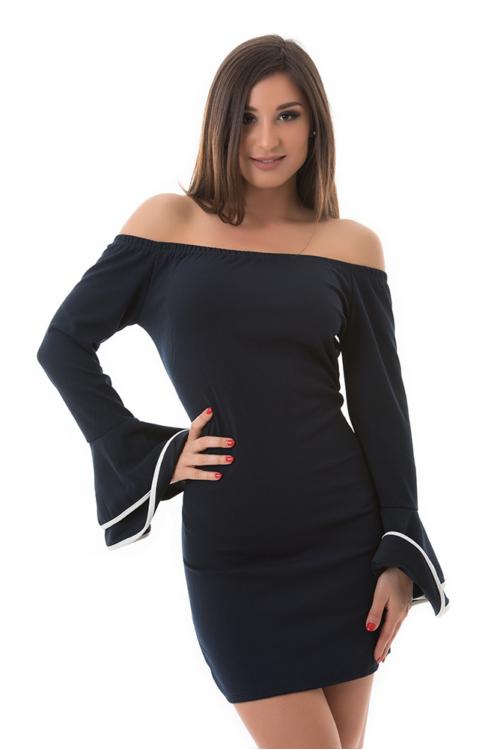 Tölcsérujjú vállra húzható ruha, sötétkék