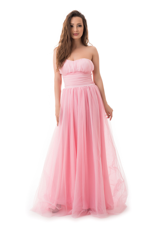 Tüllös maxiruha, rózsaszín
