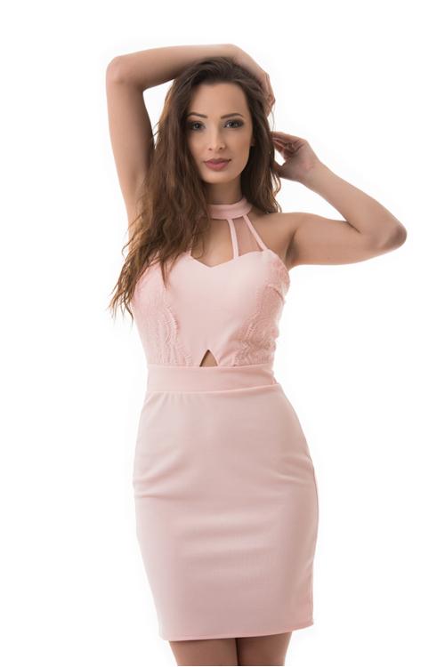 Nyakban záródó koktélruha, rózsaszín